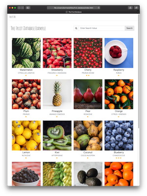 Thorium Builder Responsive Web Site: Fruits Database